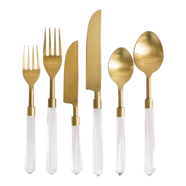 PRISM Clear + Gold Flatware - Set of 6 For Sale