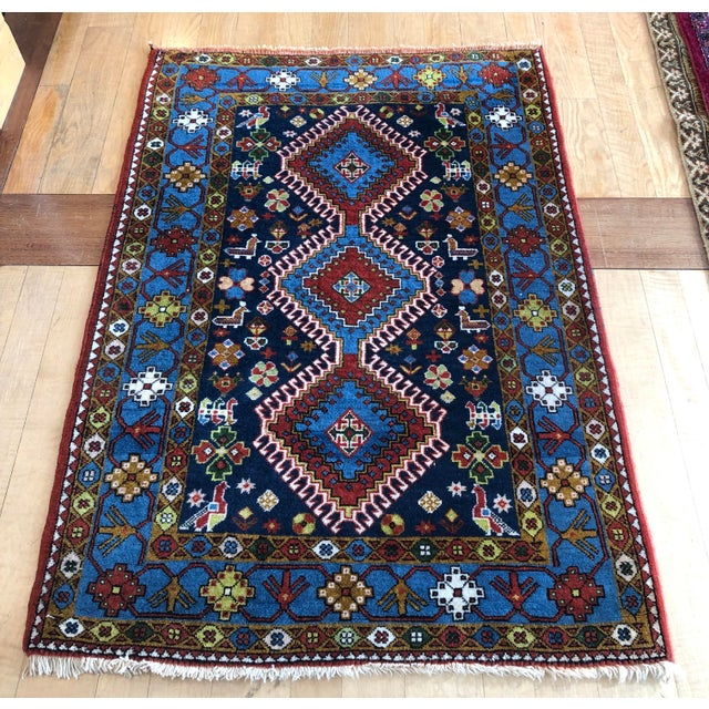 "1950s Vintage Hand-Knotted Wool Tribal Afshar Rug-3'6""x5'1"" For Sale - Image 13 of 13"