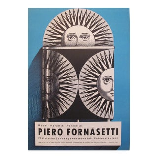 1962 Original Piero Fornasetti Exhibition Poster (blue) For Sale