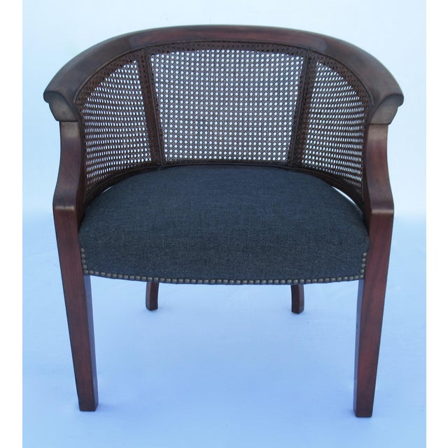 Mid-Century Modern Vintage C.1968 Mahogany Barrel Back & Caned Arm Chairs With Brass Nail Heads - a Pair For Sale - Image 3 of 13