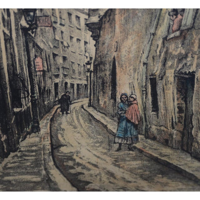 "Impressionist Joseph Margulies (1896-1984) ""The Oldest Rue in Paris"" Etching W/ Aquatinit C.1930s For Sale - Image 3 of 11"