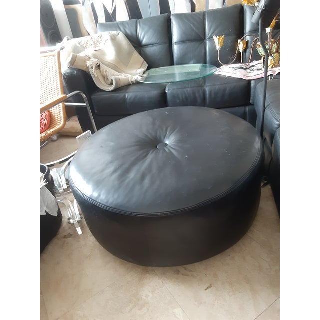 Final Markdown, no bids. Sturdy natural leather with ultra stitching. Use as footstool, coffee table or extra seating....