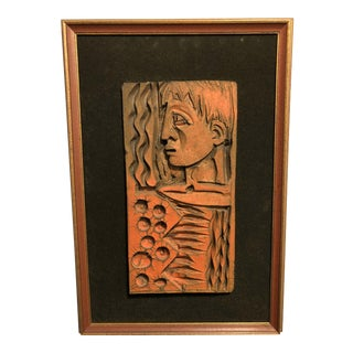Unusual Mid Century Modern Composition Figurative Wall Plaque Sculpture For Sale