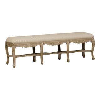 Regence Style Painted Bench, Eight Cabriole Legs with Stretchers, France, Upholstered Seat For Sale