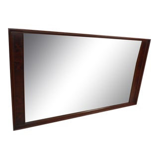 Large Mid-Century Modern Rosewood and Walnut Mirror For Sale