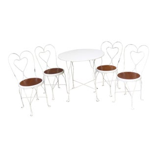 Vintage Ice Cream Parlor Table and 4 Chairs A Set - Set of 5 For Sale