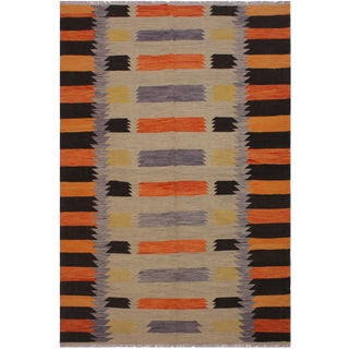 Contemporary Kilim Angie Gray/Orange Hand-Woven Wool Rug - 6'5 X 9'9 For Sale
