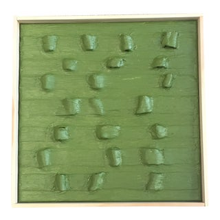 "Green ""Army Tents"" Minimalist Plaster Painting For Sale"