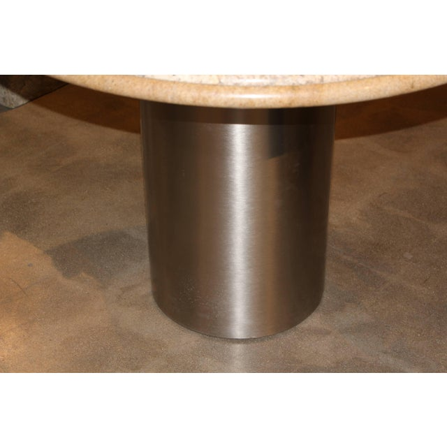 Modern Pace Collection Brushed Steel and Granite Top Table For Sale - Image 3 of 6