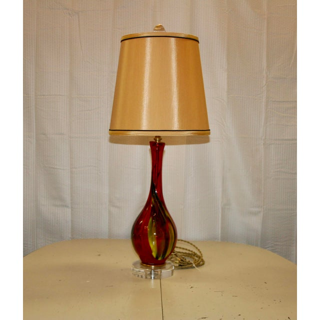 Red Murano Style Accent Lamp For Sale In Raleigh - Image 6 of 6