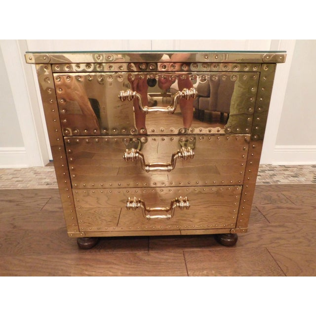 Serreid LTD Vintage Brass Nightstand - Image 2 of 11