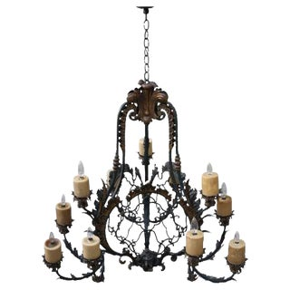 Spanish 12-Light Wrought Iron Chandelier
