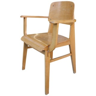 Mid-Century Jean Prouvè All Wood Standard Armchair For Sale