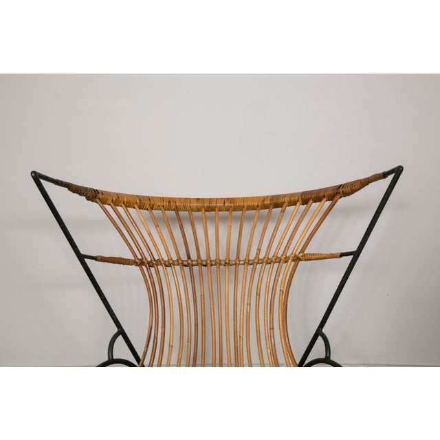 Set of 3 Metal and Wicker Slipper Chairs For Sale - Image 9 of 11