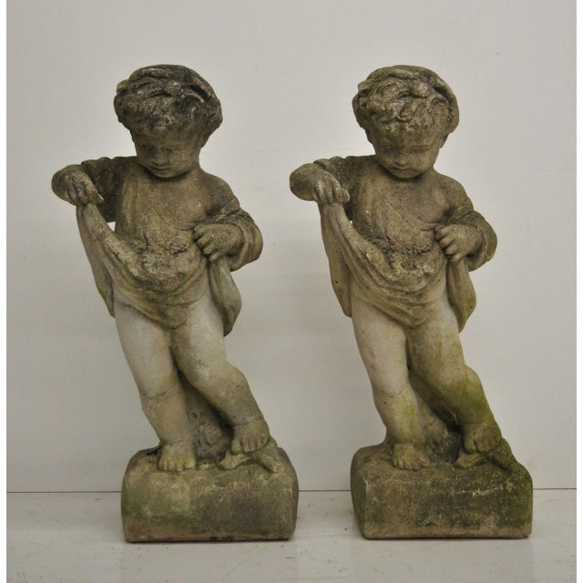 Pair of Concrete Four Seasons Style Baby Cherub Cement Garden Sculptures For Sale - Image 10 of 12