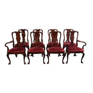 Hickory Chair Solid Mahogany Queen Anne Dining Chairs - Set of 8