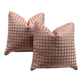 """Pair of Custom 20"""" Pink Cut Velvet Pillows For Sale"""