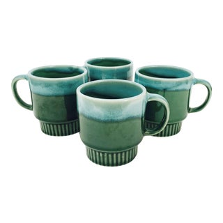 Vintage Drip Glaze Pottery Mugs - Set of 4