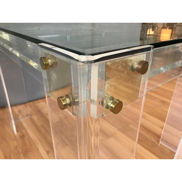 Lucite and Brass Backgammon Game Table in the Manner of Charles Jones For Sale - Image 11 of 13
