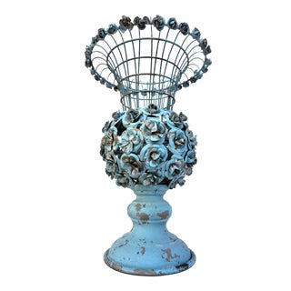 Antique French Metal Garden Urn/Topiary | Tole Rosettes | Art Nouveau Garden Art | Original Chippy Blue Paint | Trumpet Form Jardinière For Sale