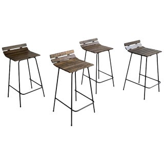Custom Wrought Iron and Slat Maple Counter Height Stools- Set of 4 For Sale