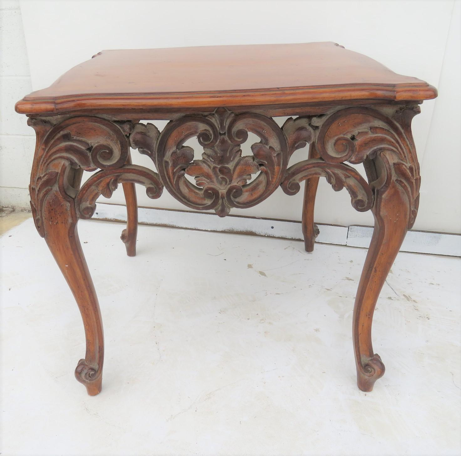 Genial French Style Carved Walnut End Tables   A Pair For Sale   Image 4 Of 5