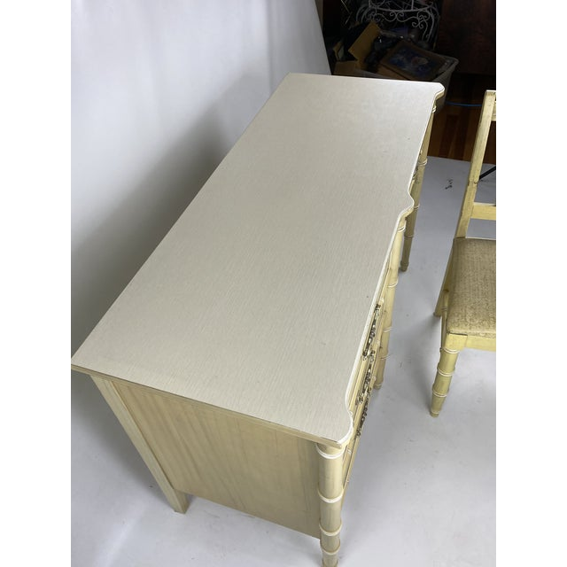 """1960s Hollywood Regency Henry Link """"Bali Hai"""" Faux Bamboo Desk W/ Chair - 2 Pieces For Sale - Image 9 of 11"""