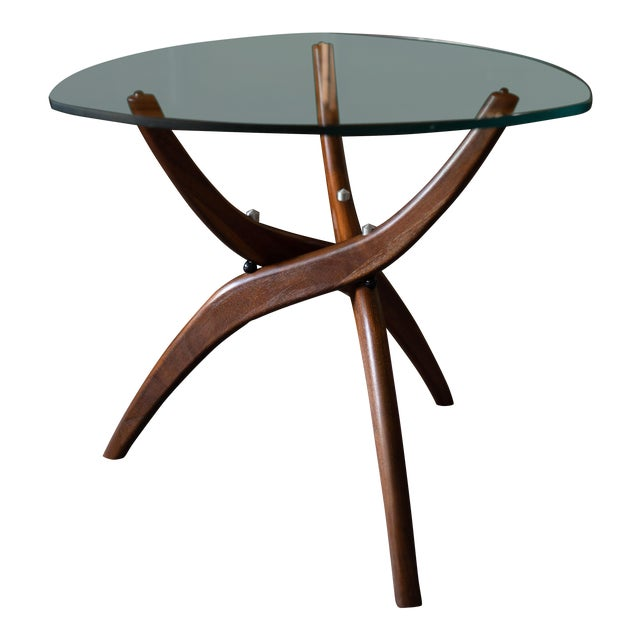 1960s Mid-Century Modern Forest Wilson Sculptural Wood & Glass End Table For Sale