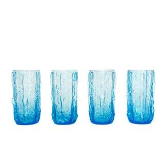 Set of 4 Mid Century Vintage Aqua Bamboo Textured Highball Glasses