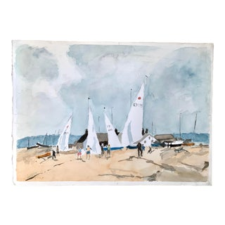 Sailboats Beach Shacks Watercolor Painting For Sale