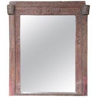 1860s Aristocrat Home Carved Teakwood Window Frame Mirror For Sale