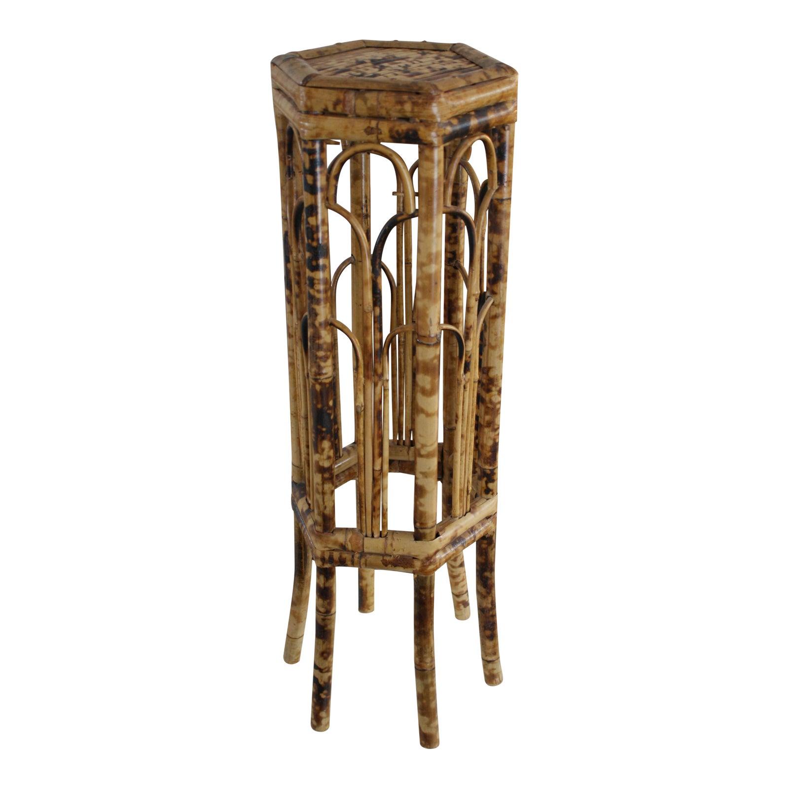 Vintage 70S Burnt Bamboo Tortoise Shell Hexagonal Plant Stand -