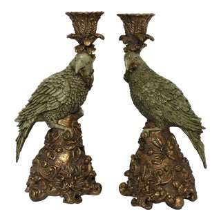 1960s Chinoiserie Hand-Painted Resin Parrot Candleholders - a Pair