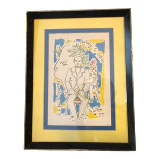 """1959 Jean Cocteau """"Hommage á Arthur Rimbaud"""" Lithograph Print For Sale"""