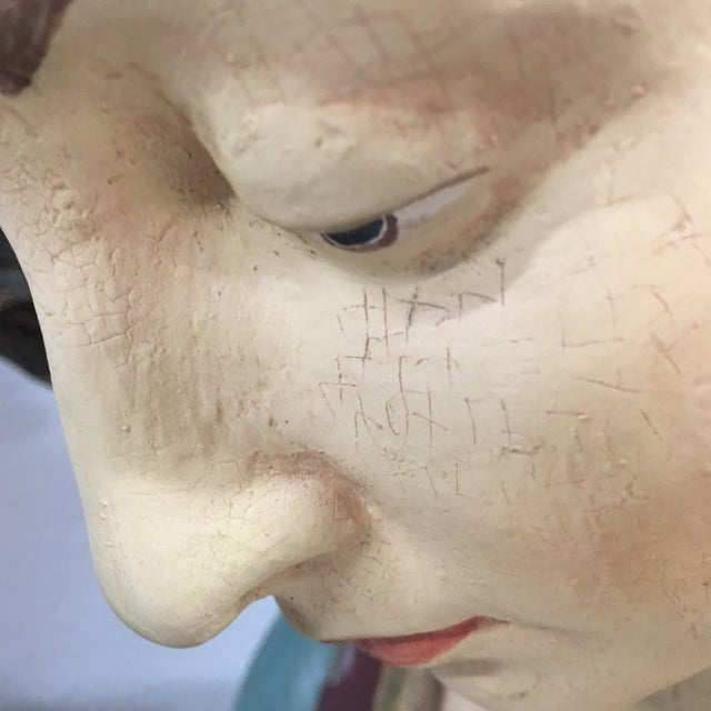 Hand Painted Paper Mache Female Bust For Sale - Image 10 of 11