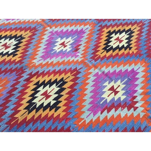 Textile Colorful Turkish Kilim Rug For Sale - Image 7 of 8