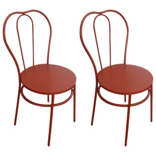 A Great Pair! Fire Engine Red! Parisian Cafe Industrial Red Bistro Chairs - Perfect Cafe Bistro Style