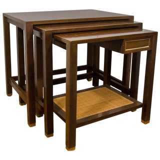 1960s Mid Century Modern Harvey Probber Walnut Nesting Tables - 3 Pieces For Sale