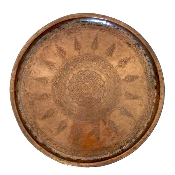 """Antique Hand Chased Persian Copper Tray 26.5"""" - Image 1 of 6"""