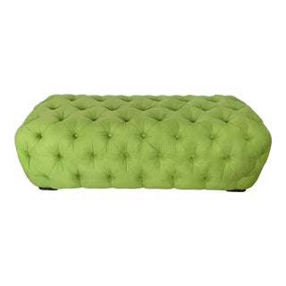 Shlomi Haziza Tufted Sitting Bench in Green With Acrylic Feet For Sale