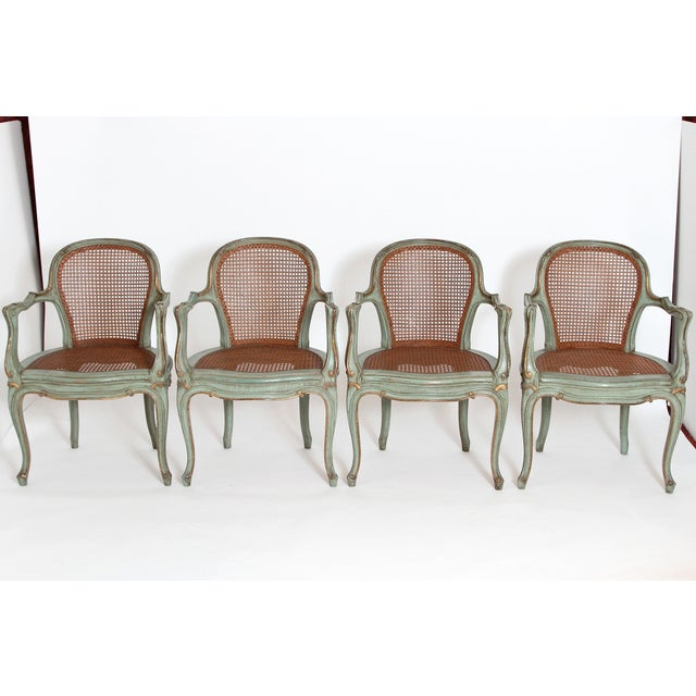 Set of 4 Italian Caned Polychrome Fauteuils - Image 2 of 11
