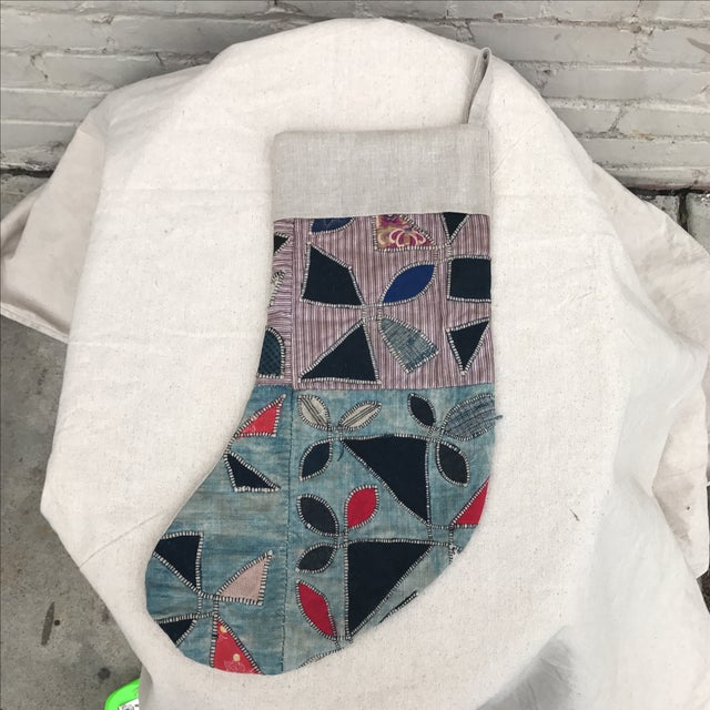 Christmas Stocking Made with Quilted Hmong Textile - Image 2 of 5