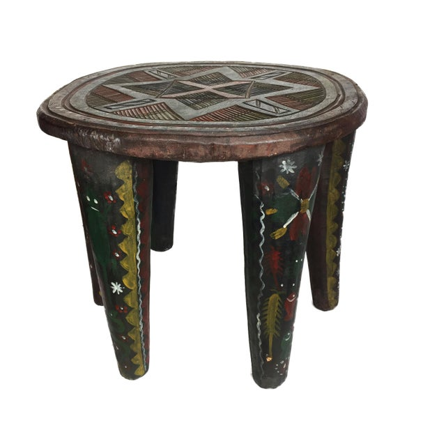 """Blue African Lg Nupe Stool Nigeria 16.75"""" H by 20.5"""" W For Sale - Image 8 of 13"""