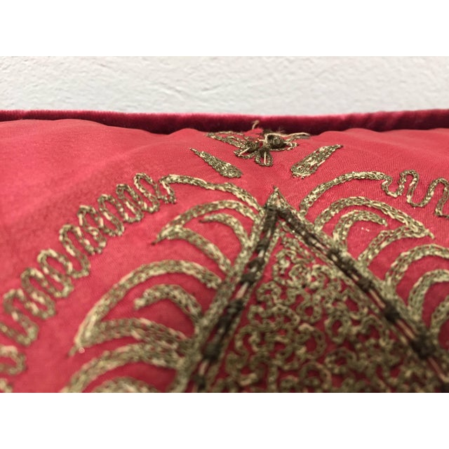 Pair of Antique Turkish Ottoman Silk Pillows With Metallic Threads For Sale - Image 11 of 13