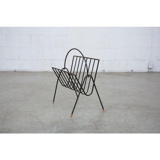Carl Aubock Style Black Wire Magazine Rack - Image 2 of 9