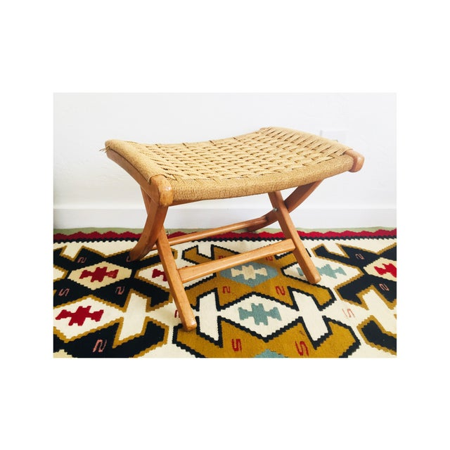 Mid Century Hans Wegner Style Folding Rope Stool For Sale - Image 10 of 10