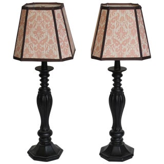 Pair of Lovely Lamps With Handmade Fortuny Shades by Mary Jane McCarty For Sale