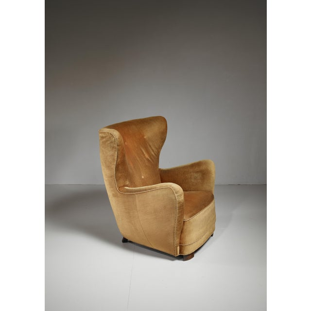 Mogens Lassen style lounge chair with velour upholstery, Denmark, 1940s For Sale - Image 6 of 6