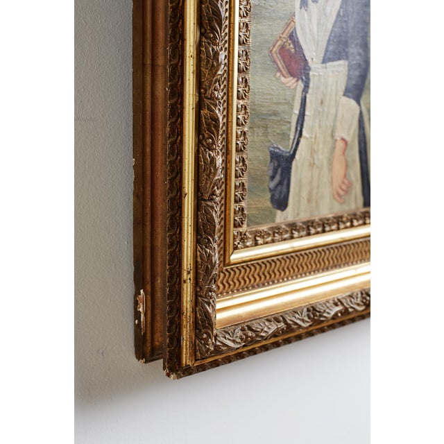 19th Century Folk Art Painting of a Young Girl For Sale - Image 4 of 13