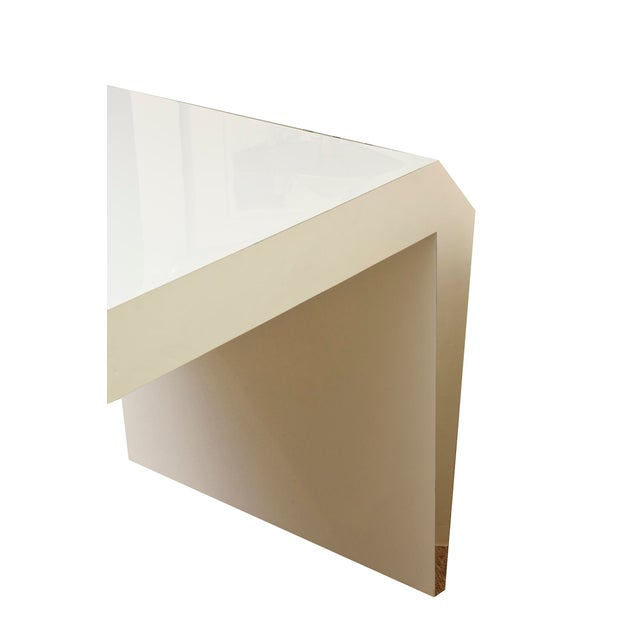 Lacquer Monumental White Lacquered Wood and Stainless Steel Sculptural Desk For Sale - Image 7 of 8
